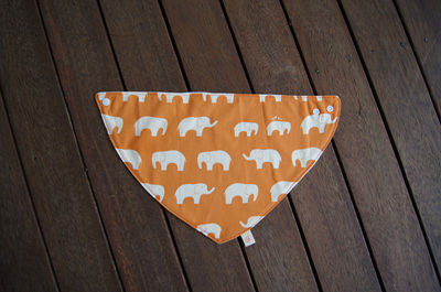 "Bandana Bib, ""Ele, Orange"" GOTS Organic Cotton, Size 3m to Toddler"