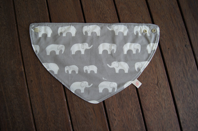 "Bandana Bib, ""Ele, Shroom"" GOTS Organic Cotton, Size 3m to Toddler"