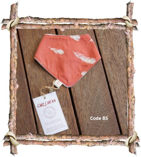 Bandana Bib, 'Feathers, Coral' GOTS Organic Cotton, 0-3 mths, (Code B5)