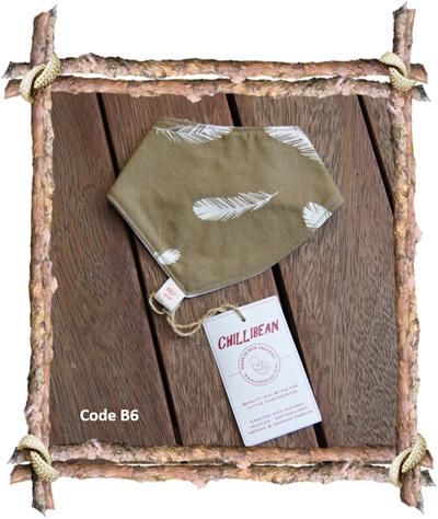 Bandana Bib, 'Feathers, Olive' GOTS Organic Cotton, 0-3 months (Code B6)