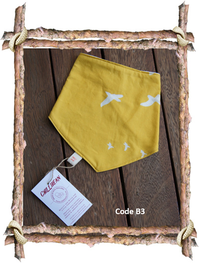 Bandana Bib, 'Flight, Golden' GOTS Organic Cotton, 3 mths - Toddler (Code B3)