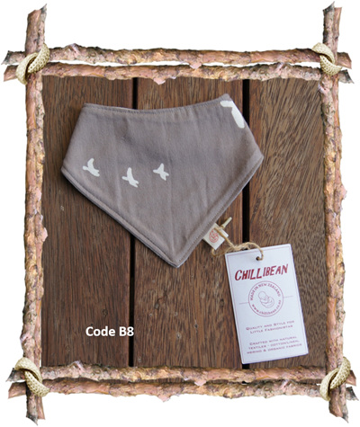 Bandana Bib, 'Flight, Shroom' GOTS Organic Cotton, 0-3 mths (Code B8)