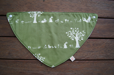 "Bandana Bib, ""Forest Friends"" GOTS Organic Cotton, Size 3m to Toddler"