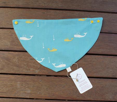 "Bandana Bib, ""Whale Watch"" GOTS Organic Cotton, Size 3m to Toddler"