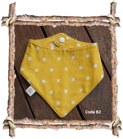 Bandana Bib, 'XOXO Dandelion' 100% Cotton, 3 mths - Toddler (Code B2)