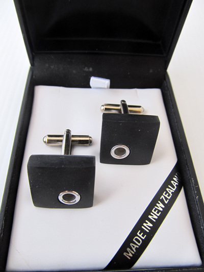BAS228 Square basalt and silver cufflinks.
