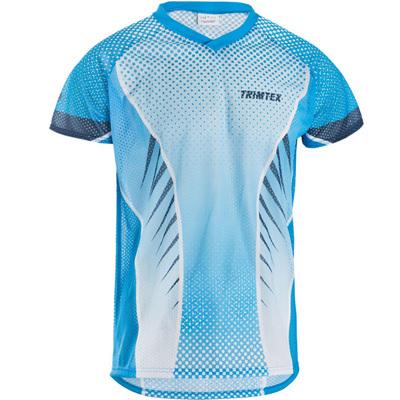 Basic Mesh O-Shirt, Azure Blue / White