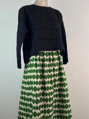 Basil green stencil Midi skirt