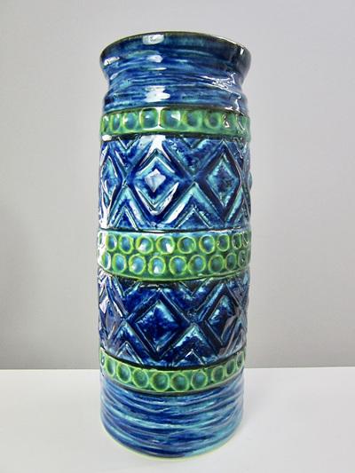 Bay Keramik Mid-Century Blue and Turquoise Vase