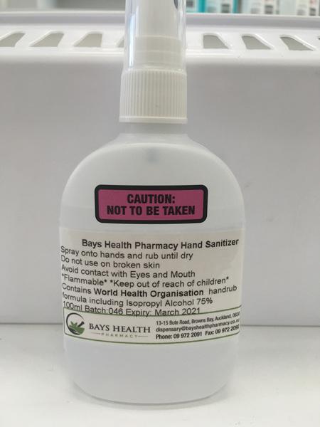 Bays Health Pharmacy Hand  Sanitizer Spray 100ml