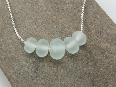 "Bead ball chain necklace - ""sea glass"" clear"