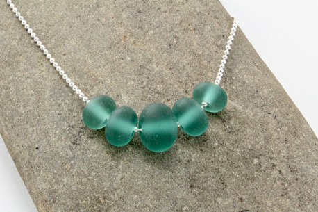 "Bead ball chain necklace - Teal ""sea glass"""