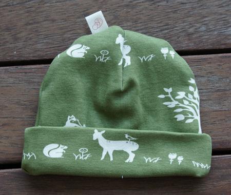 Beanie in 'Forest Friends' GOTS Organic Cotton, 0-3 mths