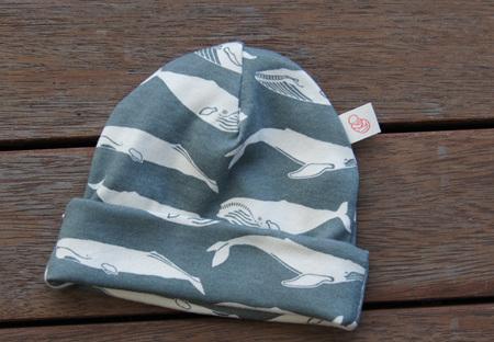 Beanie in 'Kujira', Gray, GOTS Organic Cotton Knit, 0-3 mths