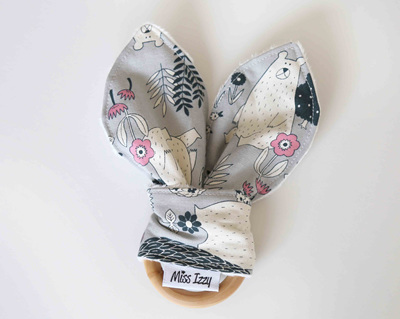 Bear & Owl Woods Grey Bunny Teether