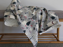Bear & Owl Woods Grey  Blanket
