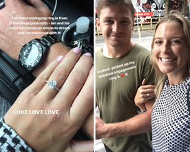 Beauden Barrett Hannah Laity oval diamond engagement ring