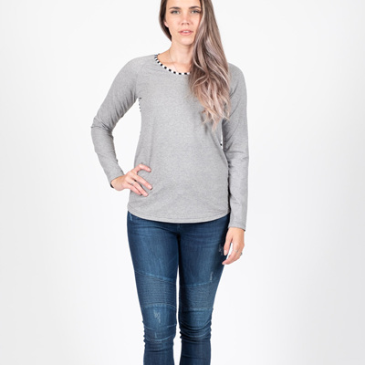 Beaut Long Sleeve Top - Grey