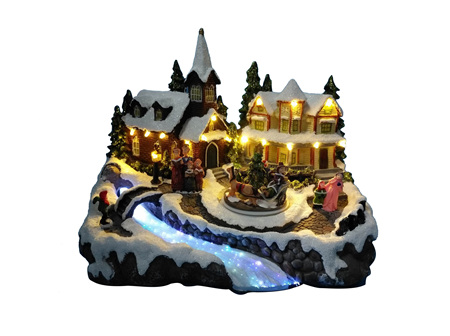 Beautiful Christmas LED Village with Fibre Optic River and Turning function with Music