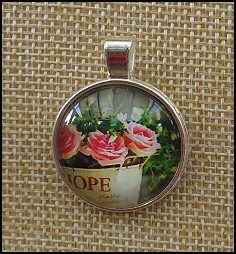Beautiful Flower Glass Dome Key Ring