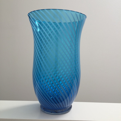Beautiful Large Vintage Blue Glass Vase with White Swirl Inclusion
