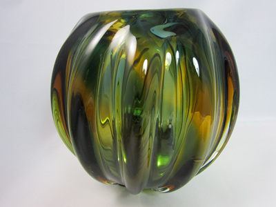 Beautiful Vintage Amber and Green Glass Ball Vase