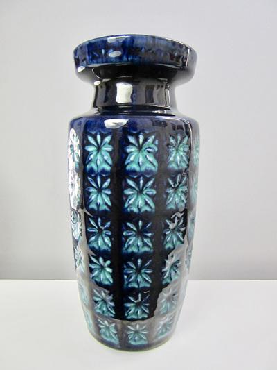 Beautiful Vintage Blue and Turquoise Scheurich Prisma West German Vase