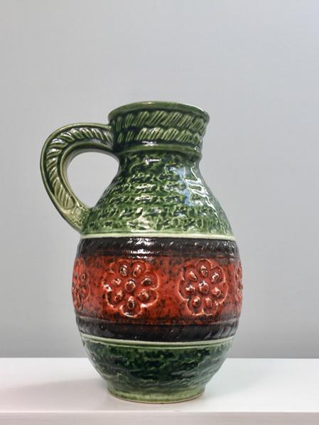 Beautiful Vintage Daisy Design Handled Vase in Green & Orange