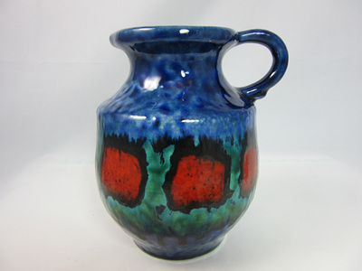 Beautiful West German Pottery Jug in Blue,  Red and Green