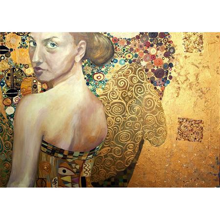 Beautiful Woman in Gold Decoupage Paper by Mint