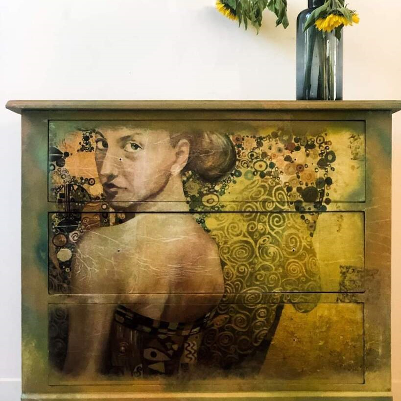 Beautiful Woman in Gold Mint Decoupage Paper