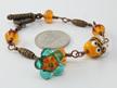 Bee and flower bracelet - teal flower