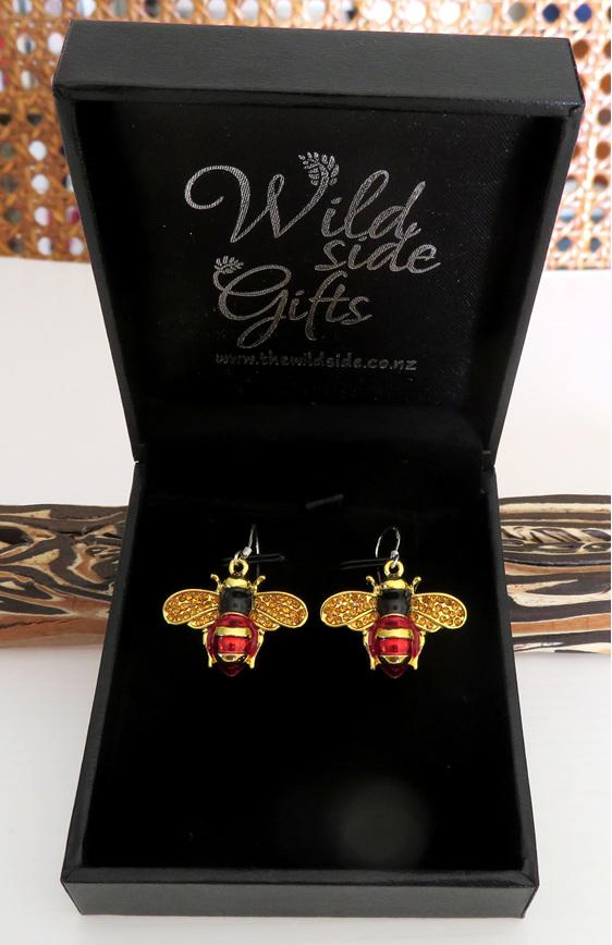 Bee Earrings in jewellery box