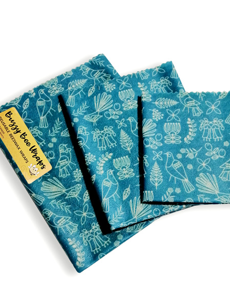 Bees Wax Wrap - Small Outline Blue