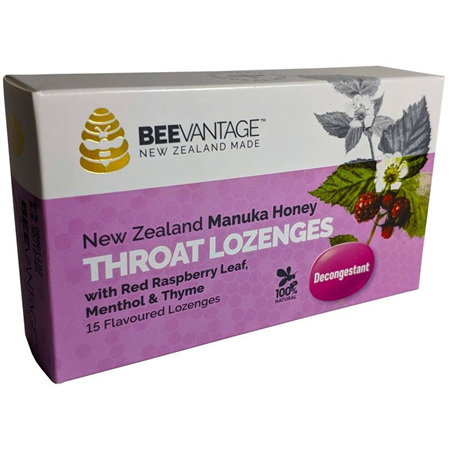 BeeVantage Manuka & Red Raspberry Throat Lozenges
