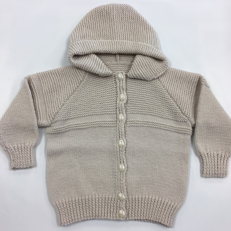 Beige Pure Wool Knitted Hooded Jacket - 3 years