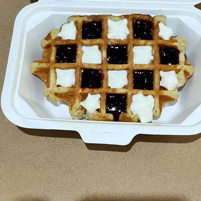 Belgian Leige Waffle toasted with cream and sauce