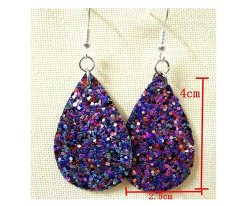 Bella-rina Purple Glitter Design Tear Drop Earrings