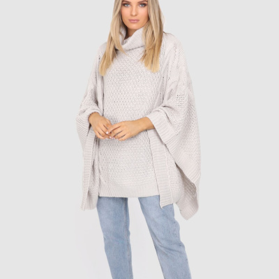 BELLS OUT PONCHO IN GREY MARLE