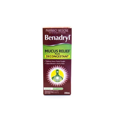 Benadryl Mucus Relief Plus Decongestant