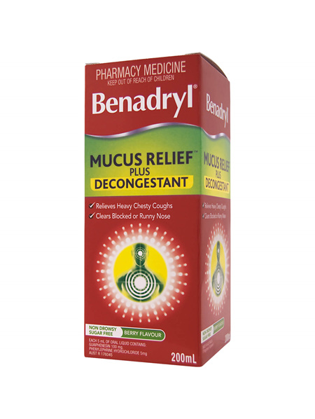 Benadryl Mucus Relief Plus Decongestant Liquid 200ml