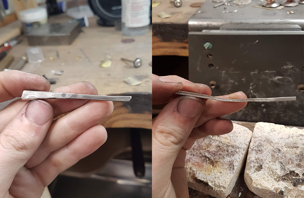 Platinum block being rolled out to form the ring's band