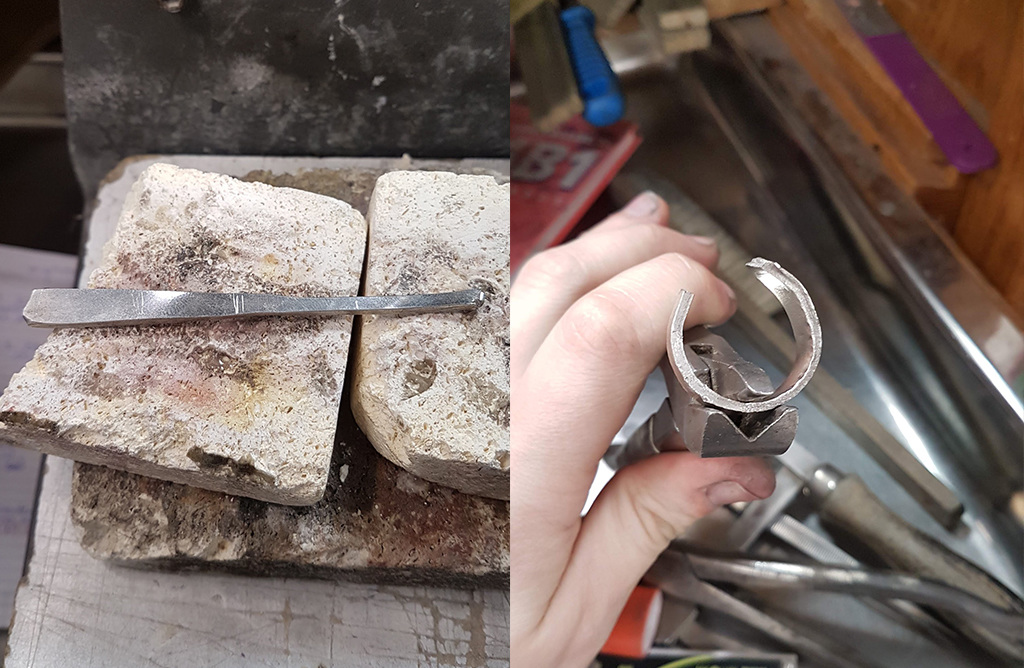 Platinum band completely rolled out and being bent to form ring
