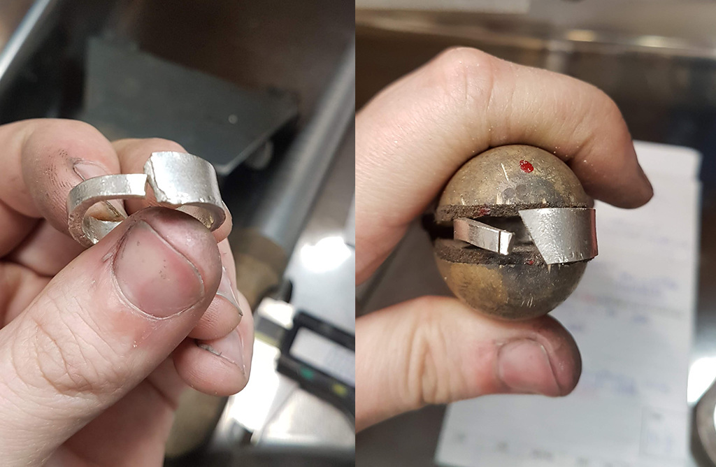 Platinum band being bent to form ring