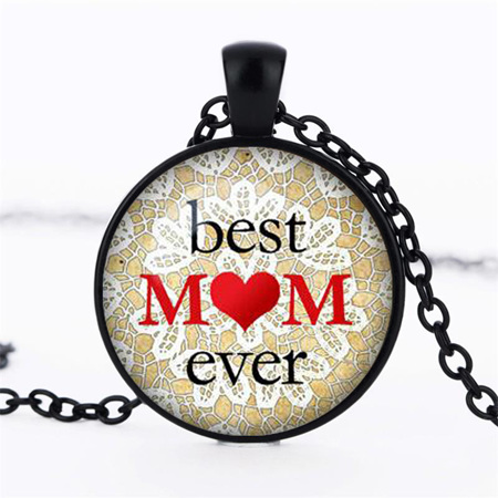 Best Mom Ever Necklace - BLACK CHAIN
