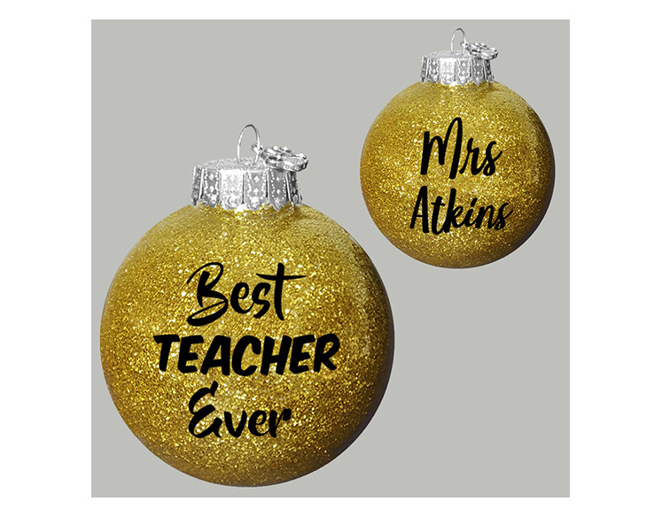 Best teacher Ever personalised Christmas Ball