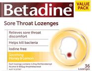 Betadine Sore Throat Lozenges - Honey & Lemon 16s