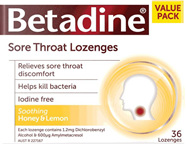 Betadine Sore Throat Lozenges  Honey  Lemon 16s