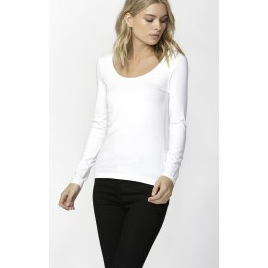 Betty Basics - Madonna L Sleeve Top - White