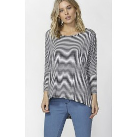 Betty Basics - Milan 3/4 Sleeve top - Navy white stripe